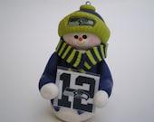 12th Man Seahawks Polymer Clay Snowman Ornament - Polymer clay by Helen's Clay Art