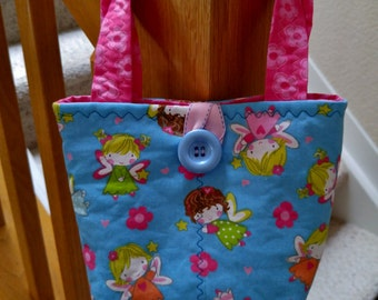 Little Girls Pink and Blue Purse, Angels & Flowers Purse, Little Girls Handbag, Gift for little Girl, Little Girl Tote Bag, Easter