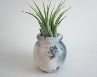 Air plant holder, small vase, Pit-fired mini vase, Ceramic art