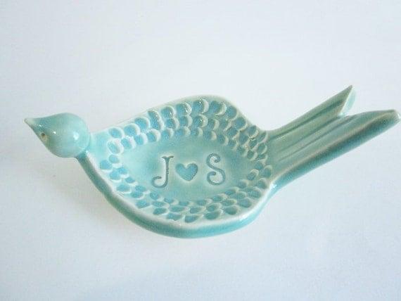 Sculptured Bird Ring dish ring bowl, fine art jewelry dish, Wedding ring holder Ceramic