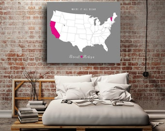 Gift For Couple- Couple Gift For Boyfriend- Two State Art- Two States Love- Couple Gift - Unique Couple Gift- Long Distance Couple