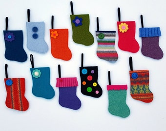 Advent Calendar - Rescued Wool Mini Stocking Ornaments - 2016 Set G - set of 25 - recycled wool sweaters - shinysparklepretty