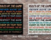 Rules Of The Game,Sports Wall Art, Sports Wall Decor, INSTANT DOWNLOAD, Sports Decor, Sports Theme, Sports Room, Boys Sports Decor