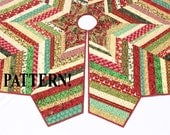 Christmas Tree Skirt PATTERN - Country Strings Tree Skirt, Foundation Pieced Quilt Pattern, Stash Buster, Chevron Style Quilted Tree Skirt