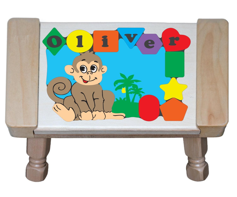 Personalized Name Monkey Jungle Animals Theme Puzzle Step