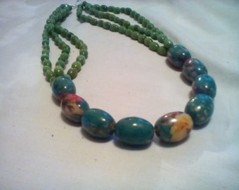 Multicolor Teal Green Statement Necklace