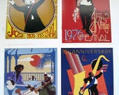 A Collection of New Orleans Jazz and Heritage Festival Poster Cards, Set of 4 New Orleans Jazz Festival Cards, Card Series of 1975 to 1979