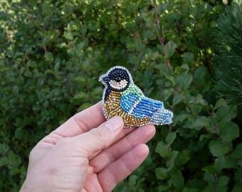 Beaded  Tomtit Brooch, Bird Brooch, Titmouse. Beadwork, handmade, OOAK, blue, green, yellow