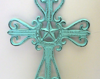 Horseshoe Cast Iron Cross Cottage Chic Beach Blue Country Star Home Decor
