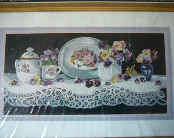 """RARE - """"Wild About Pansies"""" Design by Arleta Pech - Heritage Collection by Elsa Williams NEW"""