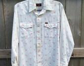 Vintage 1970s Mens Wrangler Pearl Snap Long Sleeve Shirt White