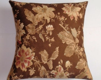 "Throw Pillow Cover, Chocolate Brown Floral Accent Pillow, Decorative Cushion Cover, Vintage Rose on Chocolate by Ralph Lauren, 18x18"" Square"