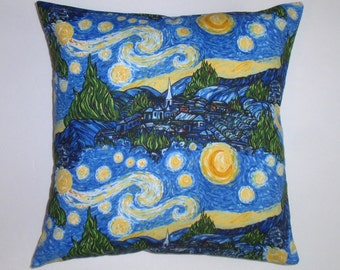 "Throw Pillow Cover, Starry Night Pillow Cover, Keepsake Calico Fabric, Toss Pillow, Accent Pillow, Decorative Cushion, 16x16"" Square"