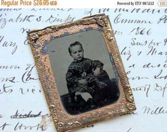 20PercentOff Antique Pinch back Tin Type Photo Little One in Plaid Dress