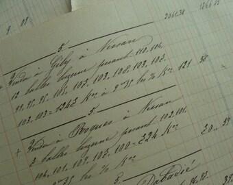 1800s Antique Handwritten Gorgeous French Ledgers