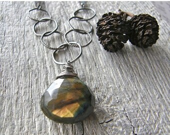 Summer Sale Chunky Labradorite Pendant with Large Link Sterling Silver Chain, Statement Silver and Stone Necklace