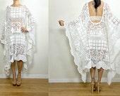 Vtg Upcycled Beautiful Ivory Floral Border Lace Romantic Tassel Boho Resort Wedding Caftan FESTIVAL Dress S/M