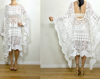 Vtg Upcycled Beautiful Ivory Floral Border Lace Romantic Tassel Boho Resort Wedding Caftan Dress S/M