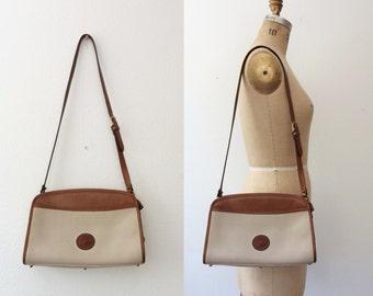 vintage leather purse/ Dooney & Burke bag/ Two Tone Saddle bag