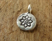 Itty Bitty Little Lotus Charms - Hill Tribe Fine Silver - Thai Silver Lotus Charms - Artisan Lotus Charms - htfsibllc