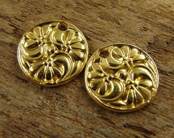 24K Gold Vermeil 3 Flower Disk Charm - Antique Replica - One Pair - c3fdv