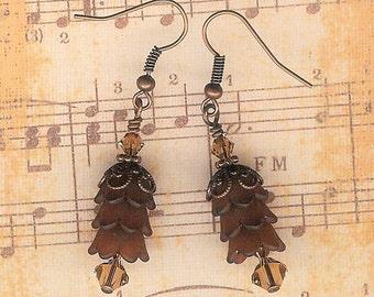 Brown Lucite Flower Earrings, Crystal Swarvoski Earrings, Brown Flower, Victorian, Art Nouveau, Copper Vintage Earring, Sexy Topaz Dangle