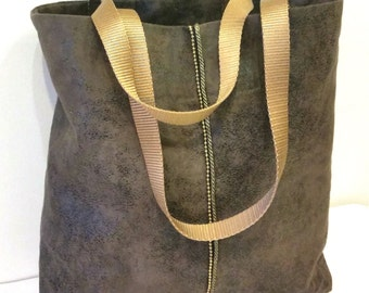 Small Vegan Tote Bag in Stone Grey, Faux Suede Tote Bag with Bead Chain Trim, Grey Tote Bags