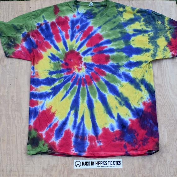 Midnight Rasta Spiral Tie Dye T-Shirt (Gildan Size XXL) (One of a Kind)