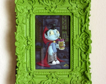 ORIGINAL PAINTING- Booger - Framed 4x6 inch Vampire Boy Gouache Painting