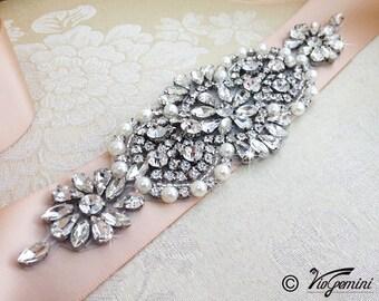 Wedding Belt, Bridal Belt, Sash Belt, Crystal Rhinestone Belt, Blush Sash