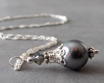 Dark Gray Swarovski Pearl Bridesmaid Necklace with Grey Crystals on Sterling Silver Chain 16 18 or 20 Inches Pewter Wedding Jewelry Handmade