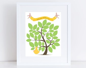 """printed baby shower tree guest book alternative - 10x8"""" customised or yellow, personaised gift keepsake, baby nursery art, sign the leaves,"""