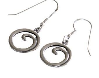 Handmade Round Retro Earrings, 925 Silver Boho Earrings, Unique Designer Women Spiral Earrings, Israel Jewelry, Oxidized Silver Wave Earring