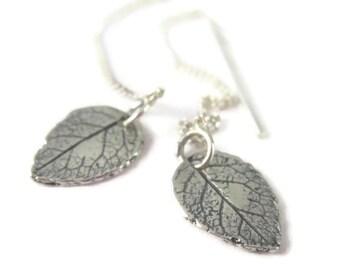 Silver Leaf Threader Earrings Sterling Silver, Long Chain Earrings, Nature Jewelry, Dainty