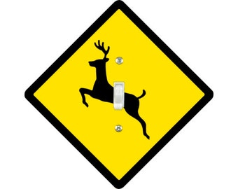 Deer Crossing Sign Single Toggle Light Switch Plate Cover