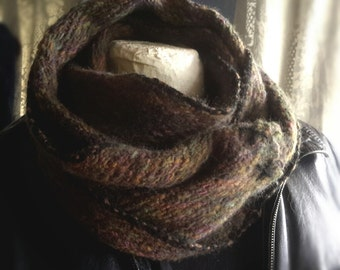 Handwoven cowl neck wrap mens warm brown pure wool