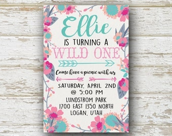 Wild One Invitation, Wild One Birthday Invitation, Wild One First Birthday Girl, Wild One Invite, First Birthday Ideas, Boho Birthday, 4x6