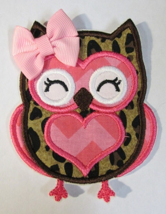 Iron On Applique -  Leopard and Hot Pink Chevron Owl