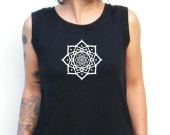 Lotus Tshirt - Lotus Tank Top -  Cap Sleeve Cotton Muscle Tee Alternative Apparel - Mandala Print