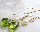 Peridot Earrings, Gold Filled, Pearl Accent, Teardrop Green Gemstone, Drop Stone, Handmade Jewelry, August Birthday, Birthstone