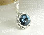 Blue Sapphire Crystal Necklace, Swarovski Rhinestone Pendant, Sterling Silver, September Birthday Birthstone, Bridesmaid Jewelry Gift