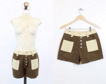 70s Shorts Cotton Small / 1970s Vintage Hiphugger Shorts / Wild Thing Shorts