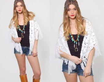 Vintage 70s KNIT Shawl White Crochet FRINGE Hippie Cape Boho Knit Wrap