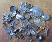 Vintage WATCH PARTS gears - Steampunk parts - r68 Listing is for all the watch parts seen in photos