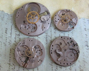 Vintage Antique Watch movements parts Steampunk - Scrapbooking r88
