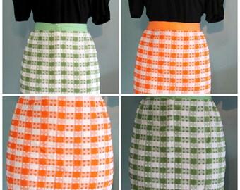 vintage white green plaid apron,white orange plaid apron,plaid apron,green apron,white apron,orange plaid apron,white plaid apron,gifts,