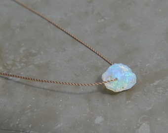 Raw Opal Necklace on Silk October Birthstone