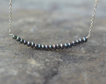 Tiny Black Pearl Necklace Tiny Black Pearl Bar Necklace Black Seed Pearl Necklace
