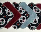 MamaBear Reusable Cloth Towelettes (Unpaper) Set of 6 - Sugar Skulls