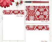 complete personalized stationery set - DAMASK DREAM -  stationary set - note cards - notepad - fancy stationery